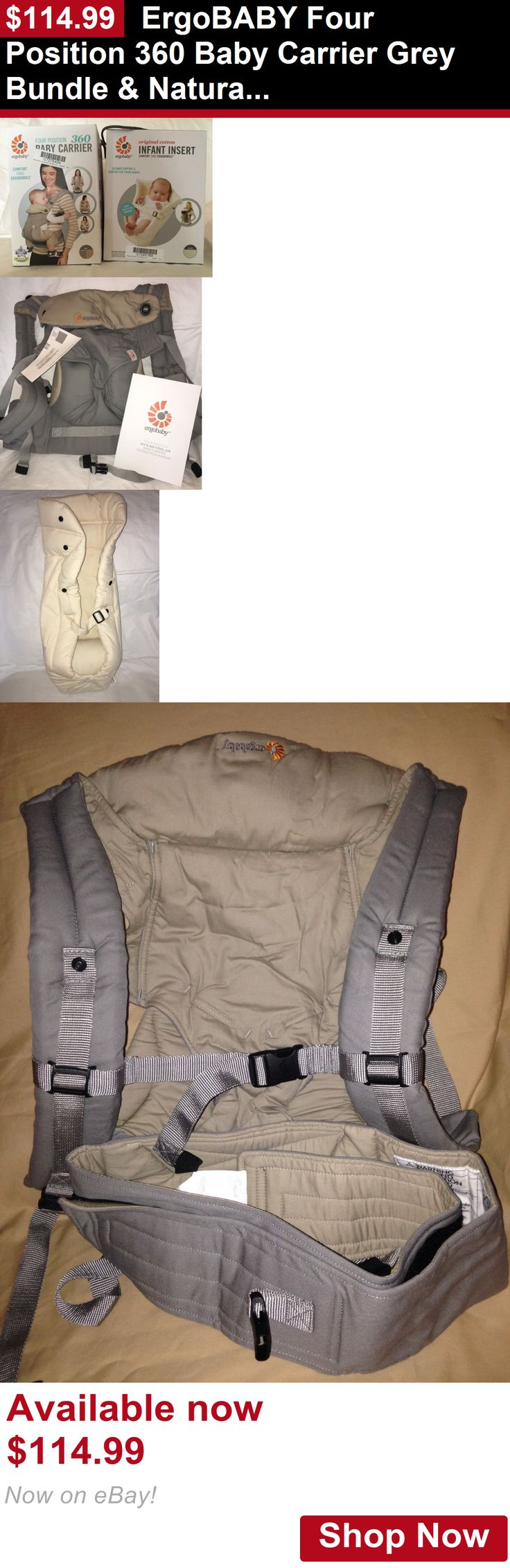 Baby Carriers and Slings and Backpacks: Ergobaby Four Position 360 Baby Carrier Grey Bundle And Natural Infant Insert Ergo BUY IT NOW ONLY: $114.99