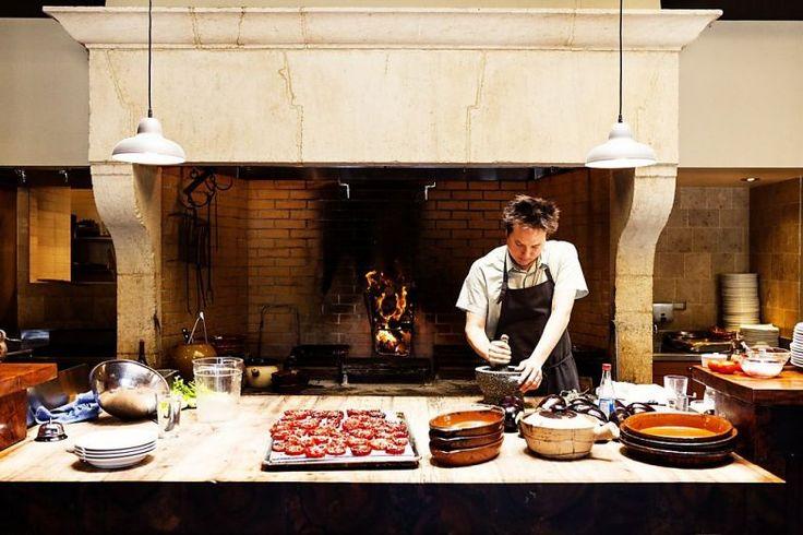 Open kitchen Camino restaurant in Oakland, Calif.