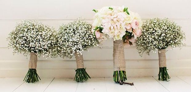 Wedding party flowers , baby's breath for the girls and soft pink with a touch of white for the bride - hydrangea , roses , freesias and ranunculus