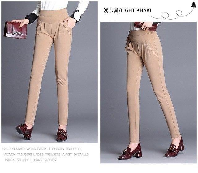 Casual Harem Pants Elastic Pleated Long Pants Trousers High Waist Plus Size 3Xl 4Xl Loose Pants qian kaqi S