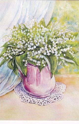 RARE-Lily-of-the-valley-flowers-in-vase-by-Bessonova-Russian-modern-postcard