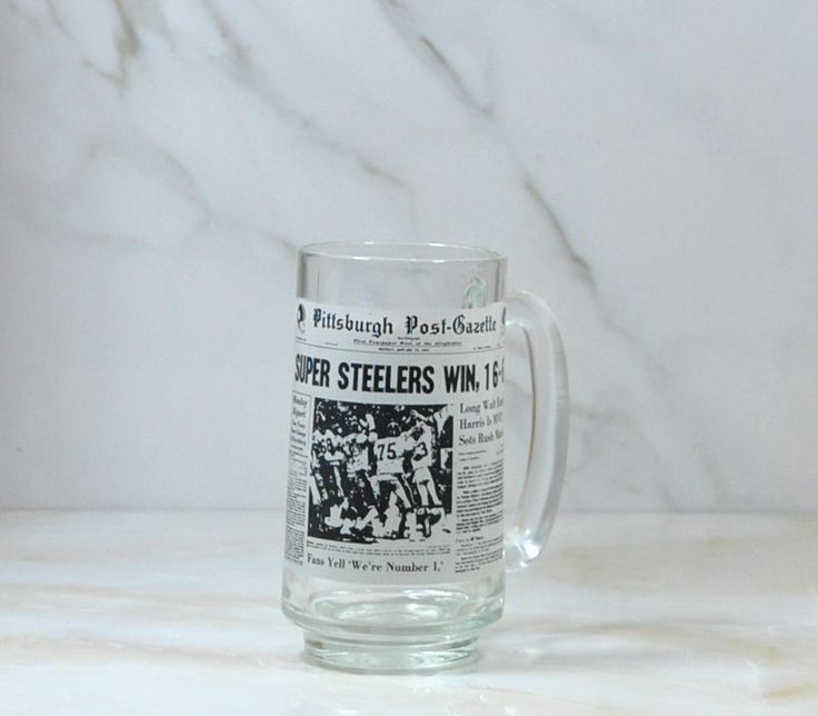 Vintage NFL, Pittsburgh Steelers, Glass Mug, Superbowl IX, 1975, Steelers Win 16-6, Superbowl Champs, Pittsburgh Post, Gazette, Football by winterparkcollect on Etsy
