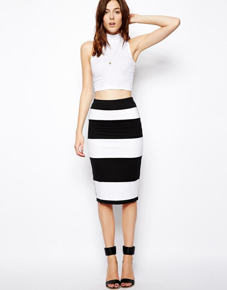 Super sexy black and white striped pencil skirt from ASOS.