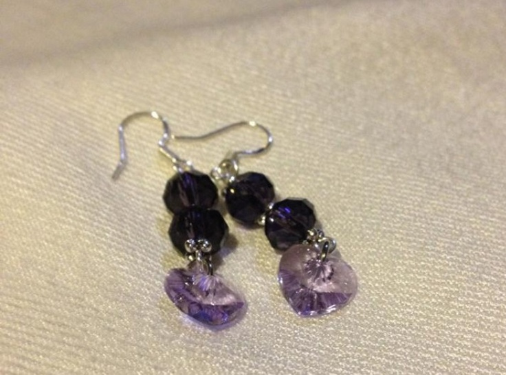 Dark purple bicone crystal earrings with silver spacers and light Purple Heart