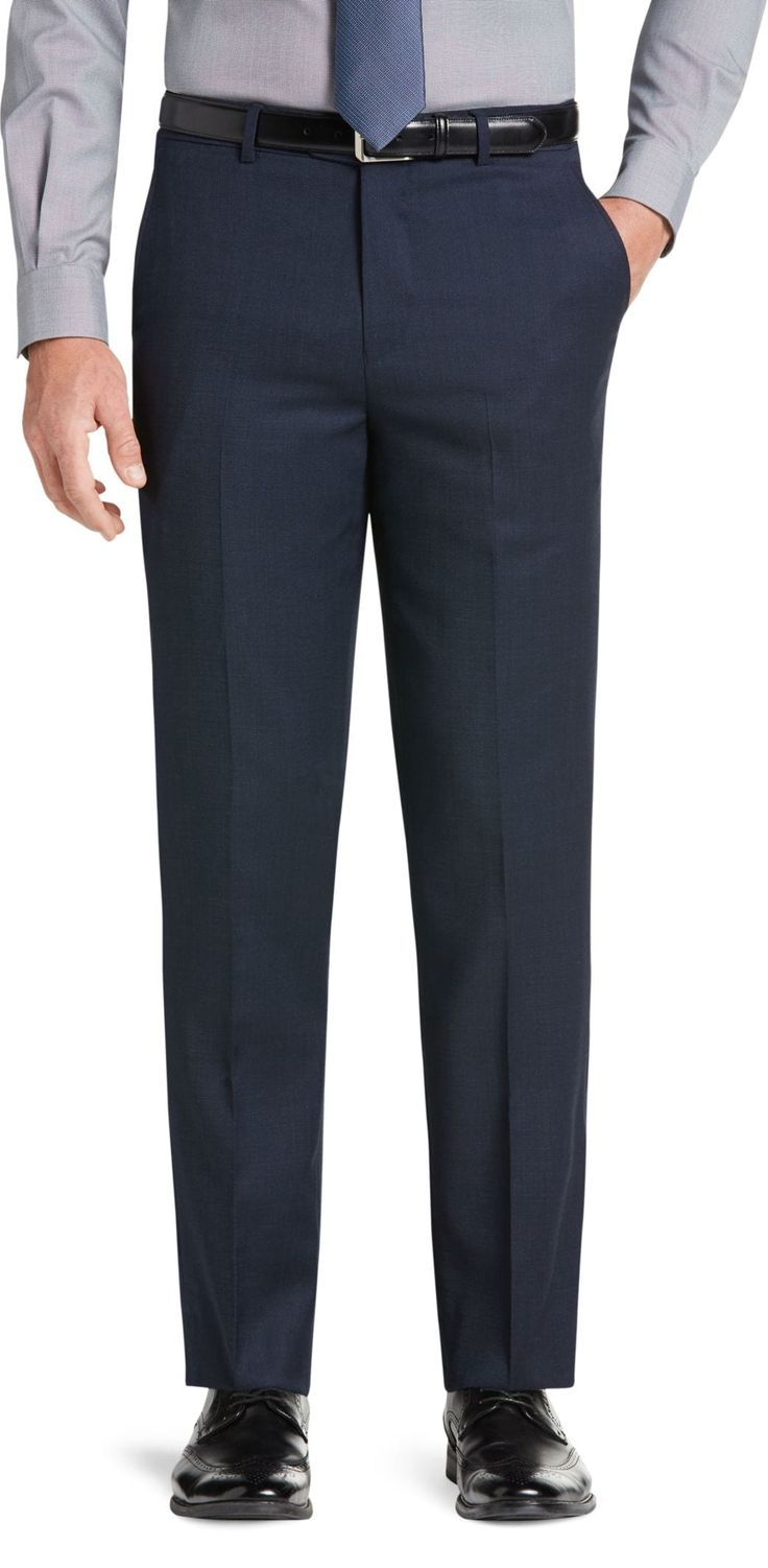 Travel Tech Collection Slim Fit Micro Stripe Flat Front Suit Separate Pants - Big & Tall