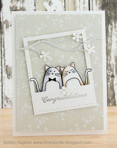 Carte Félicitations chats polaroid