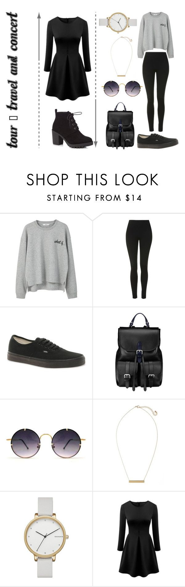 """""""TOUR - travel and concert"""" by lilyrose2000 on Polyvore featuring MANGO, Topshop, Vans, Aspinal of London, Spitfire, BP., Skagen, WithChic and Red Herring"""