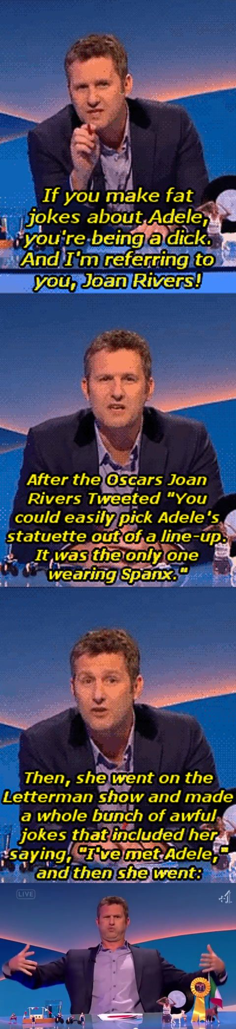 Women should be BUILDING EACH OTHER UP, NOT TEARING EACH OTHER DOWN!  Listen to this guy, Adam Hill...I have NO CLUE who this guy is, but what he has to say in defense of a woman (Joan Rivers) calling Adele fat, is RIGHT ON!