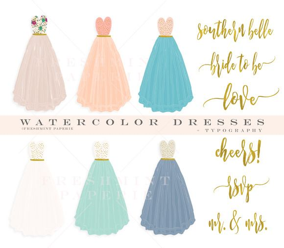watercolor dress pretty clipart set by freshmint paperie on @creativemarket