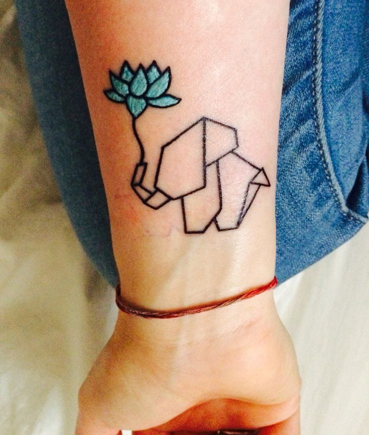 my first tattoo origami elephant with blue lotus flower minimalist tattoo to do. Black Bedroom Furniture Sets. Home Design Ideas