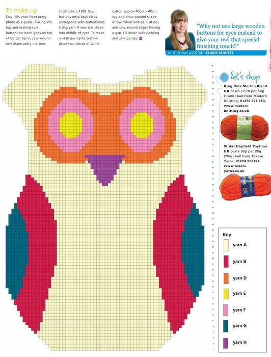 New! Owl Chart for Tapestry or Afghan. ☀CQ #crochet #crafts #DIY