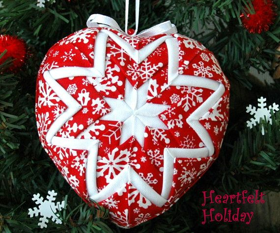 Quilted Snowflake Heart Christmas Ornament by MyPrairieCreations
