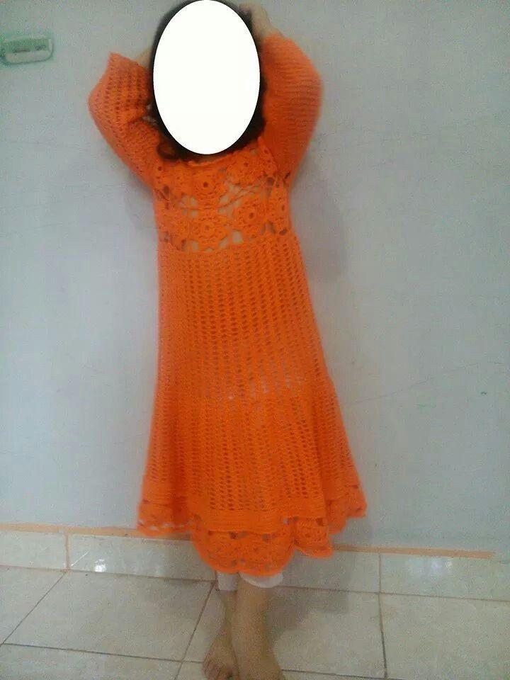 Gaun rajut bunga salur Handmade-crochet, benang rayon viscose grade A, made by order