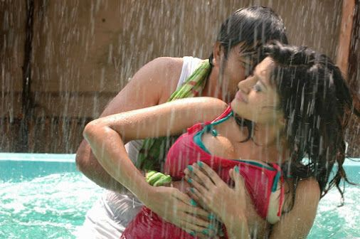 The hot sexy unseen south indian fame actress very tempting boobs show in swimming pool with two tops and one bra but that are not able to h...