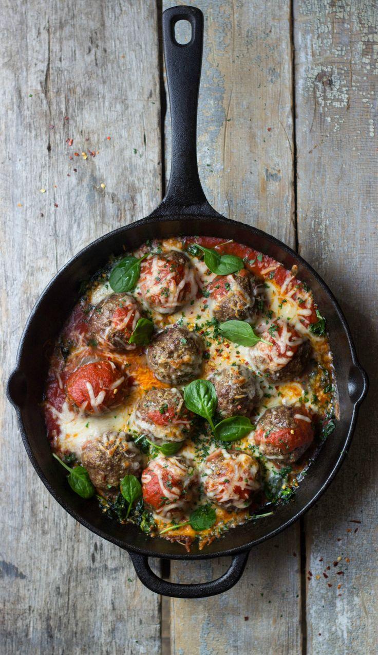 Italian Meatball, Mozzarella & Spinach Skillet