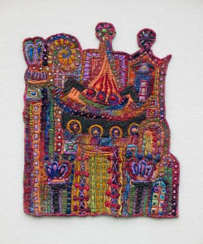 Elements of Architecture XXIV, free-motion machine embroidery into big, bulk hand stitches    Artist: Susan Lenz