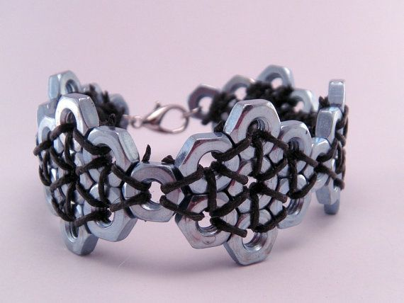 Steampunk Hex Nut Hardware 7 Inch Bracelet by luv4sams on Etsy, $22.00