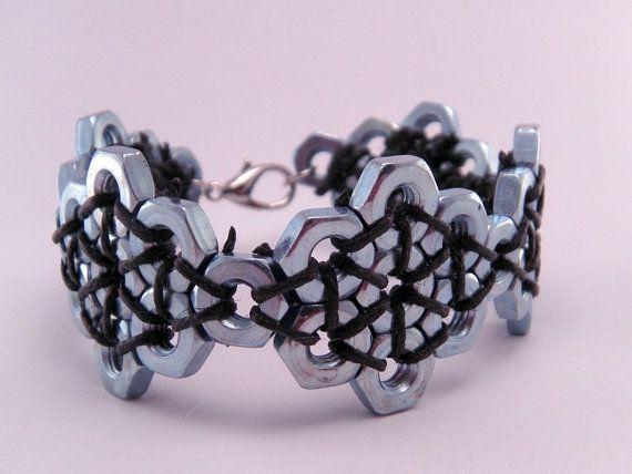 Steampunk Hex Nut Hardware 7 Inch Bracelet