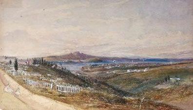 K Road | Symonds Street Cemetery | Cemetery Gully with view of Rangitoto | John Tremenhere Johnston 1850s