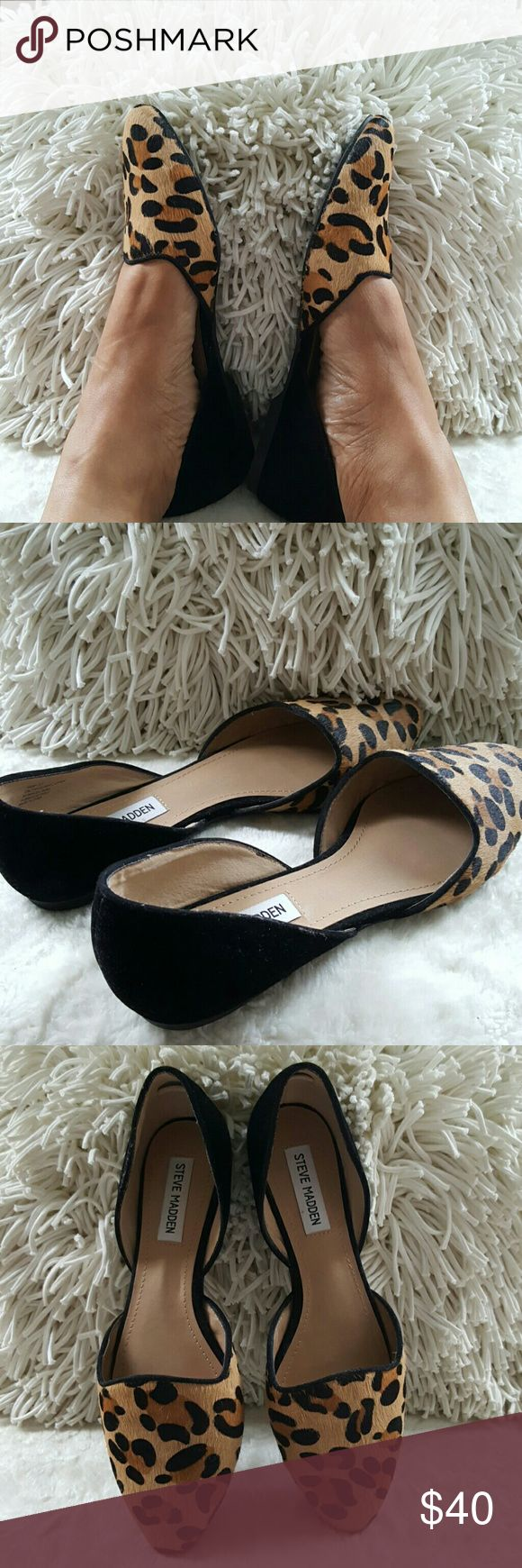 Steve Madden Vamp Leopard Flats Gorgeous, classic 2 pc leopard/black calf hair flats.  Worn once, excellent condition, no flaws. Steve Madden Shoes Flats & Loafers