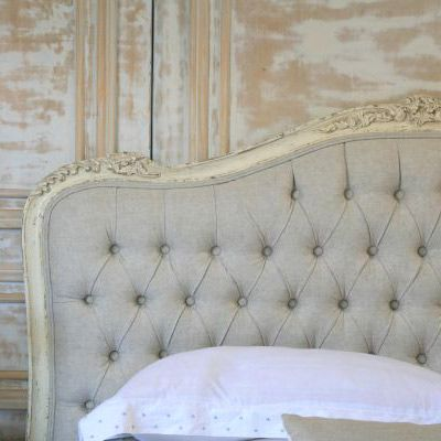 I wonder if I could use my French Provençal headboard & paint the edges creamy white and make my own tufted area with upcycled linen curtains??