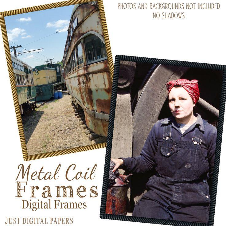 Metal Coil Frames, Rustic Frames,Instant download - Digital Frames for Photographers, Png Frames, Industrial frames by JustDigitalPapers on Etsy