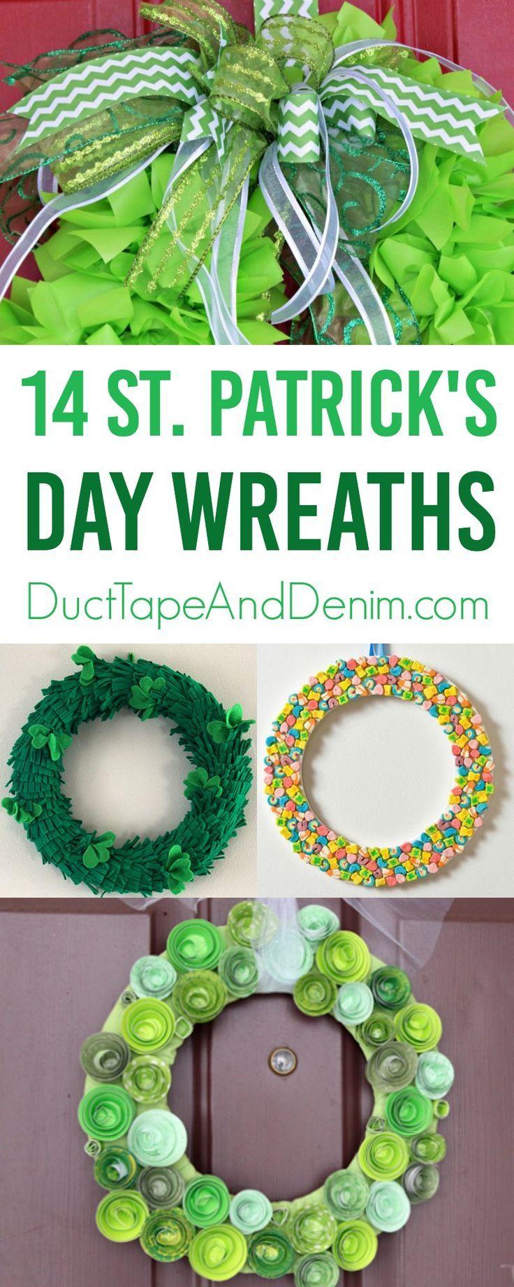 14 St Patrick's Day Wreath ideas to make on DuctTapeAndDenim.com #stpatricksday #stpaddysday #stpatricks #wreath #wreaths #DIYwreath #DIYwreaths #wreathideas #frontdoordecor #holidaywreath #craft #homedecor #DIYhome #diyhomedecor
