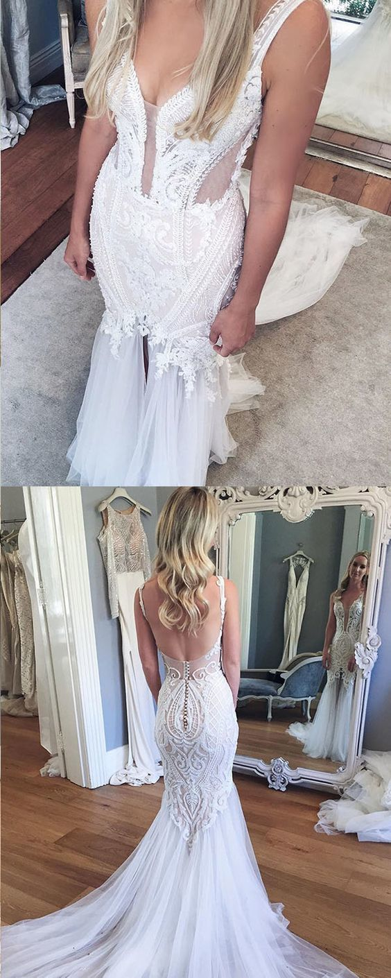 Mermaid Backless Court Train V-neck Wedding Dress with Lace Split Appliques