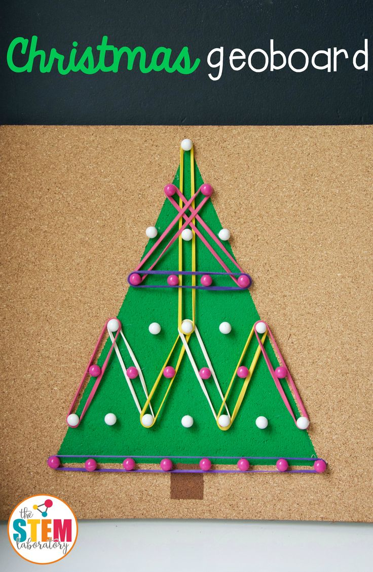 Make a DIY Christmas geoboard! What an awesome shape and fine motor activity for preschool or kindergarten.