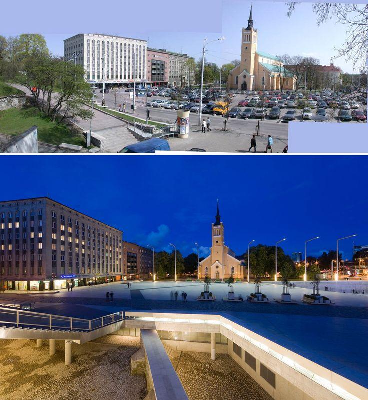 Tallinn, Liberty Square, Alver Architects, 2009 | Come cambia l'immagine dello spazio pubblico quando alle macchine è vietato l'accesso.