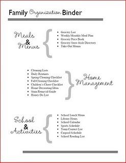 Family organization binder