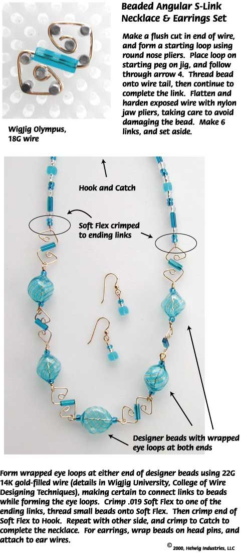 Beaded Angular S-L>ink Wire Necklace made with WigJig jewlery making tools, beads and jewelry supplies.