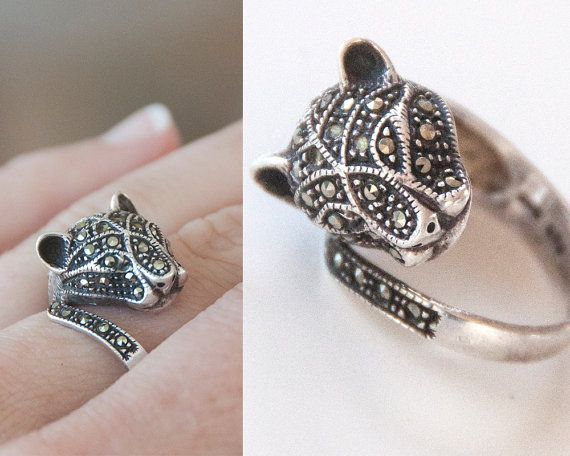 925 Sterling Silver Marcasite Panther Ring Size 7 Cougar