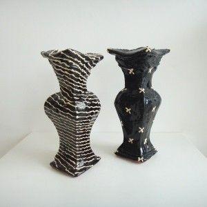 Richard Parker 'Black and White Vases' (glazed earthenware)