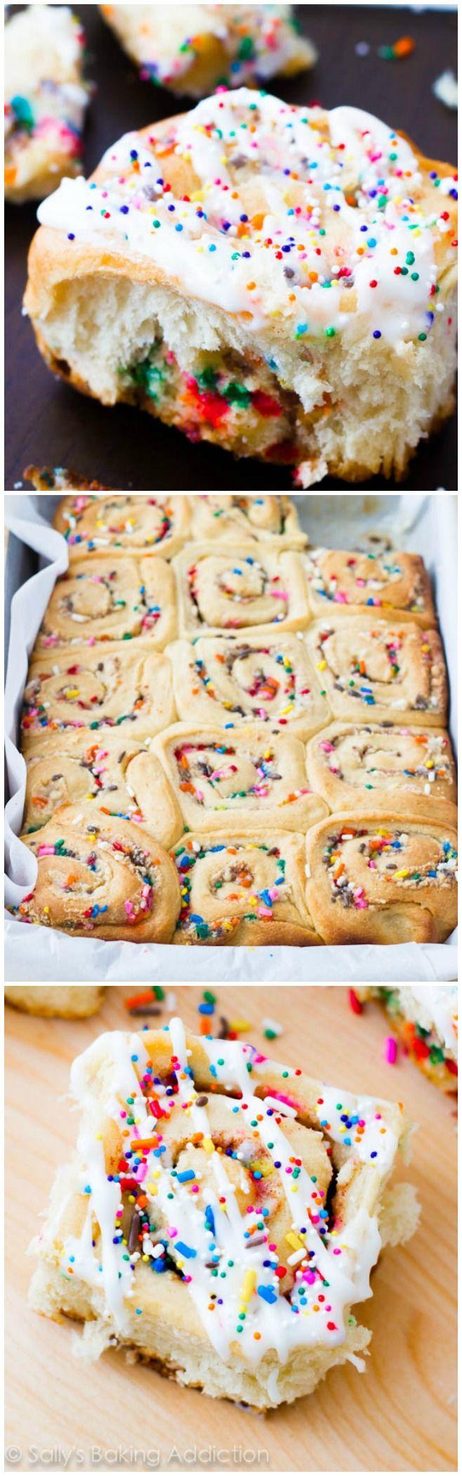 Cake Batter Cinnamon Rolls for birthday mornings