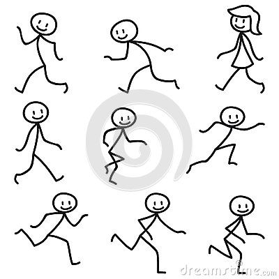 Stick man stick figure happy running walking