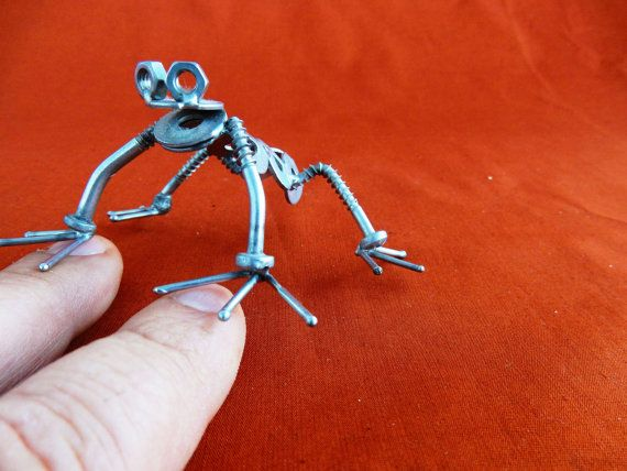 scultura acciaio rana Art metal metal art riciclo di stevieacciaio