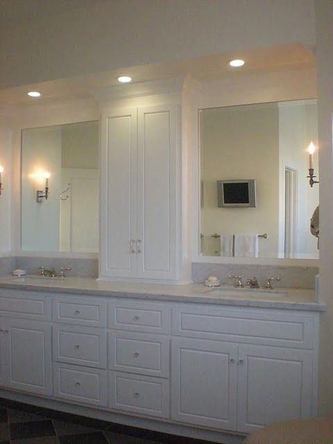 tower in center of bath vanity Ideally, you\u0027d install a vanity