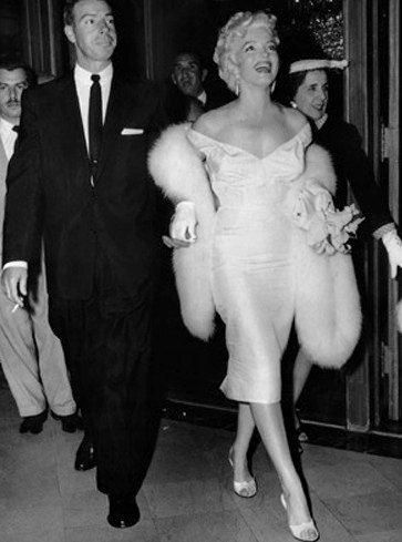 Marilyn Monroe Dress- White Stretch Satin Off-shoulder-SAMPLE. $75.00, via Etsy.