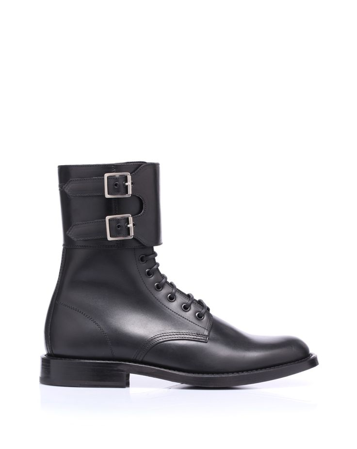 Calf leather boots, military style by @Yves Saint Laurent