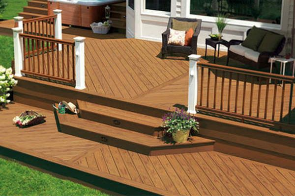 Composite Decking Design. I like the lower platform with the steps.