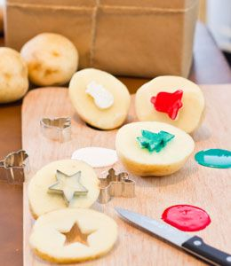 Potato Stamping w cookie cutters
