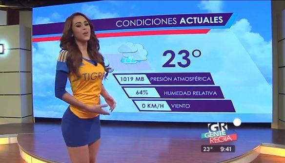 Jornalista apresenta previsão do tempo com camisa de clube e vestido sexy #DailyMail, #Fotos, #Instagram, #KimKardashian, #M, #Novidade, #Sensual, #Sucesso, #Televisa, #True, #Tv, #Twitter http://popzone.tv/2016/03/jornalista-apresenta-previsao-do-tempo-com-camisa-de-clube-e-vestido-sexy.html