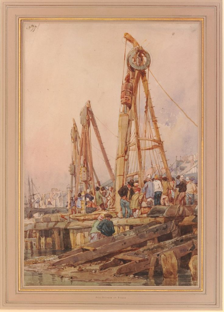 Pile drivers at Rouen; a quay side with crowds of men working on pulley systems, the town beyond Watercolour, over graphite