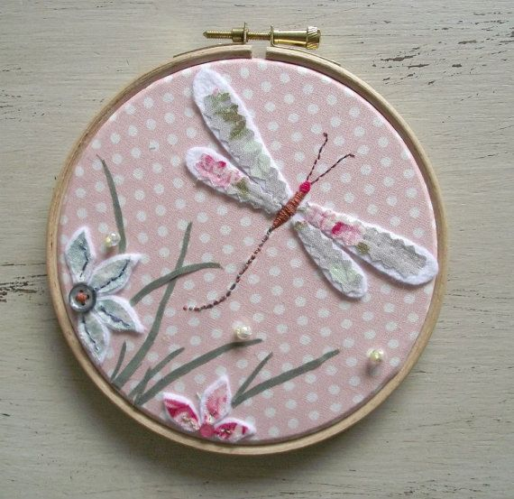 Dragonfly Hand Embroidered Hoop Art Picture In Pink by DandyLane, £20.00