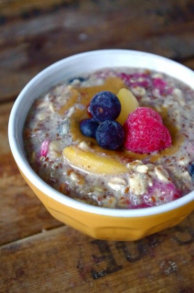 Fruit-Filled Protein-Packed Overnight Quinoa & Oats by nutritionistinthekitchen #Breakfast #Oats #Quinoa #Overnigiht #Healthy