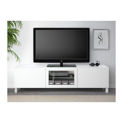 BESTÅ Tv-bänk med dörrar - Lappviken vit klarglas, 180x40x48 cm, lådskena, tryck-och-öppna - IKEA