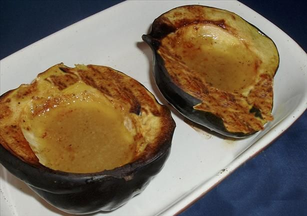 Baked Acorn Squash With Mustard and Honey from Food.com:   								There are only 4 ingredients in this recipe (well, 6 if you count the salt & pepper)n but this recipe is a hit with everyone--an easy, tasty, addition to a weeknight meal. Just be careful cutting the squash. Recipe comes courtesy  Sara Moulton of the Food Network.