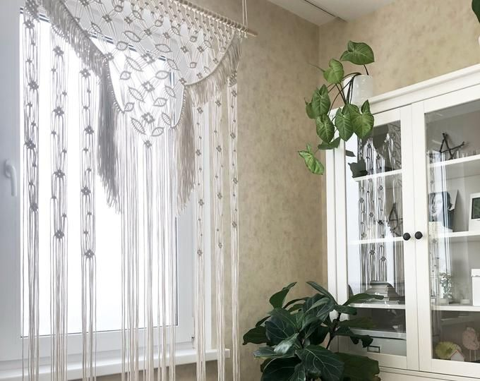 Large Macrame Door Curtains Of 2 Or 1 Panels Macrame Window Etsy Macrame Door Curtain Macrame Wedding Large Macrame Wall Hanging