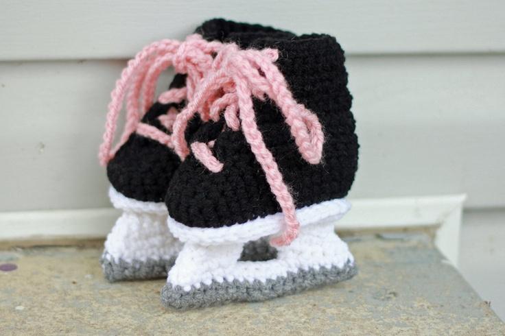 Hockey Skate Booties for Girls - Crochet Photo Prop.. $21.95, via Etsy.